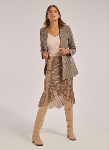 Monamoda Monamoda Payetli Volanlı Fermuarlı Pullu Midi Boy Kadın Etek Bronz